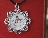 Pendant  - Original - Watercolor-  Art - Handmade - Winter - Snow - Snowman
