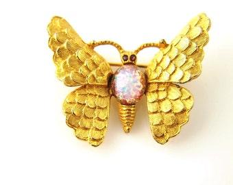 Butterfly Opal Glass Brooch - Vintage