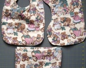 Large flannel receiving blanket burp cloth and bib - Teddy bears at Christmas - Christmas Baby