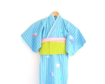 Girl's KIMONO for Summer YUKATA butterfly cotton purple blue stripe OBI tulle 2y-3y ready to ship
