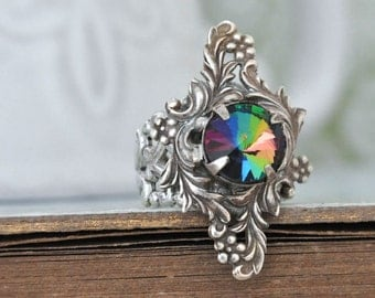ENCHANTED FOREST - Victorian style floral pattern antiqued silver ring with smoke topaz glass jewel