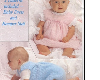 Baby Knitting PATTERN  - Baby Dress and Romper - One for Girl and one for Boy To fit 16 - 20 inches