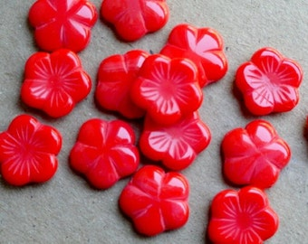 14mm Red Flower Czech Glass Beads - Bead Soup Beads - Flat Red Flowers