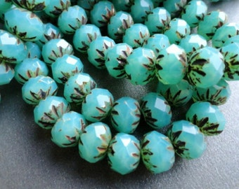 6x9mm Premium Czech Beads - Milky Turquoise - Carved Cruller Beads