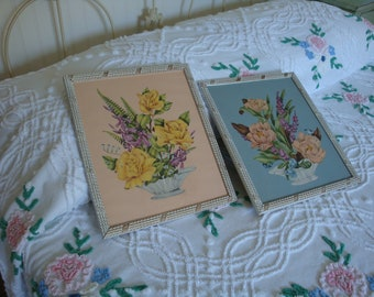 2 Vintage 1940s Rose and Peony Prints Framed in Shabby Cottage White Frames