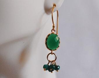 Gemstone Earrings- Genuine Green Emerald Rondelles - Green glass drop-  Dangle Earrings