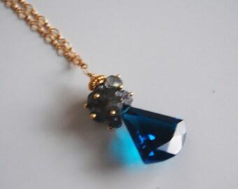 London Blue Quartz Cluster Pendant Necklace - Gemstone Labradorite Cluster necklace