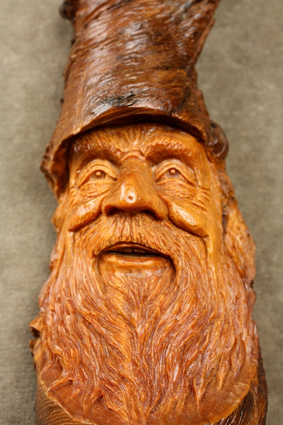 Wood Spirit Carving, Ooak Anniversary Gift for Husband, Him, Rustic Log Cabin Decor by Gary Burns the treewiz, Team Madcap Fathers Day Gift