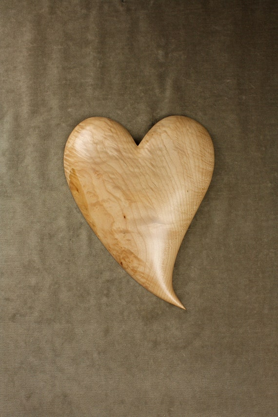Anniversary Gift Wood Heart Carving Personalized Christmas Gift on Etsy carved by Gary Burns the treewiz, Handmade  woodworking