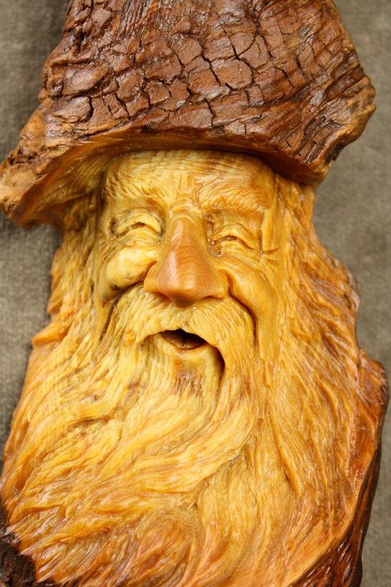Wood spirit carving christmas gift for dad log cabin