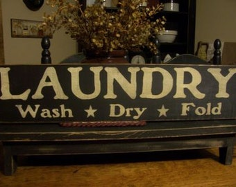 Laundry Wash Dry Fold, Primitive Sign, Laundry Sign, Laundry Decor, Laundry Room Decor, Wood Sign, Hand Painted Sign, Country Laundry Decor
