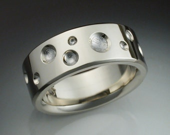 14k white gold mans ring with Gibeon meteorite craters