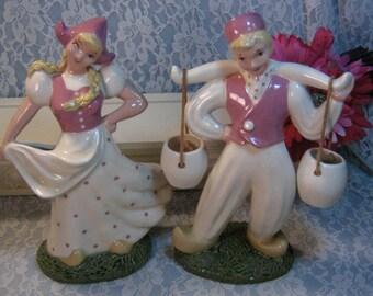 Vintage Heidi Schoop Dutch Boy and Girl Vase Figurines, 1940s California Pottery, Vintage Home Decor, Rare and Complete Original Set