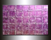 ORIGINAL Textured Abstract Contemporary Art- Textured Metallic Purple Modern palette knife painting by Henry Parsinia 36x24