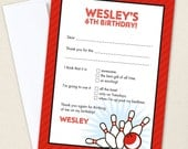 Bowling Thank You Cards - Professionally printed *or* DIY printable