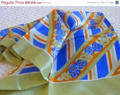 CHRISTMAS SALE Vintage 70s Geometric Acetate Scarf with Blue Flowers Green and Off White Base 26 inch Square