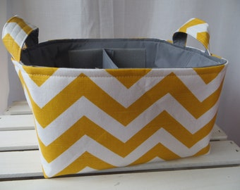 Diaper Caddy, Fabric Basket bin with adjustable dividers 10 x 10 x 6 Chevron Premier fabric