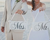 Wedding Signs, Mr. and Mrs. Wedding Chair Signs and/or Thank and You. 6 X 12 inches.  Wedding Seating Signs, Photo Props.