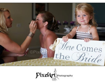 Custom Wedding Sign, 8 X 16 in, Here Comes the Bride and/or And they lived Happily ever After. Bridal Sign, Marriage Sign, Flower Girl.