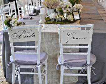 Wedding Signs, Bride and Groom Chair Signs and/or Thank and You. Seen in ONEWED.  Reception Signs, Photo Props.