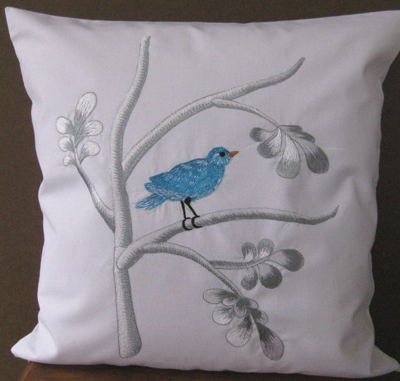 "ONE SET Embroidered Decorative Pillow Cover - Chinoiserie Bird in Branch - 18"" x 18"" (Ready to Ship)"