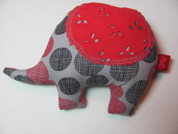 Red and Black Polka Dot Stuffed Elephant Baby Toy
