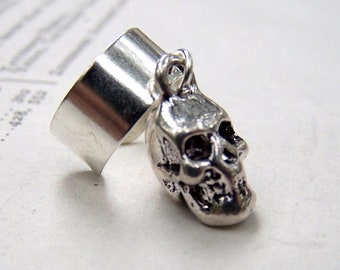 Silver Ear Cuff  with Skull Sugar Skull Jewelry Skull Ear Cuffs
