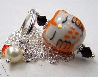 Halloween Necklace Orange Owl Necklace Halloween Jewelry Silver Owl Jewelry Cute Little Sleeping Owls