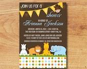 Jungle Animal Baby Shower Invitation-Digital Custom Card-Safari Animals-Baby Boy or Gender Neutral