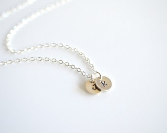 Three Initial Disk Necklace - Sterling Silver - Bride, Bridal party, Bridesmaid Gift, Wedding, Christmas Gift, Birthday