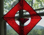 Geometric Red Stained Glass Hanging Planter Dish Deep Ruby