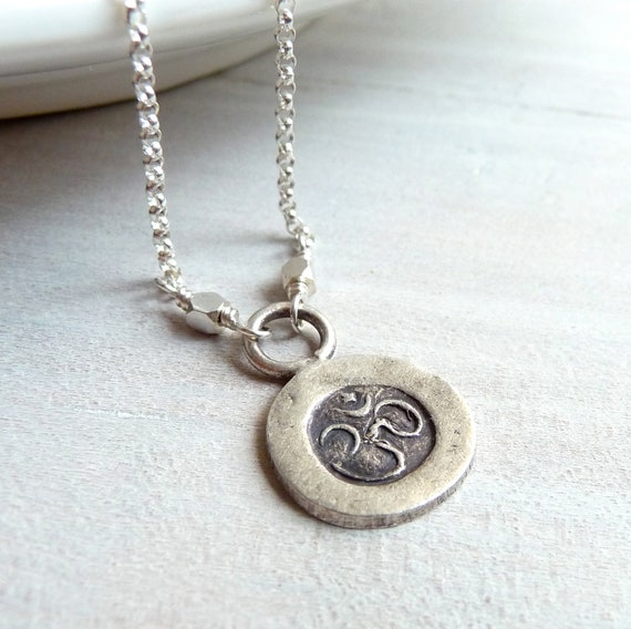 Om Necklace, Ohm Necklace, Yoga Jewelry, Sterling Silver Yoga Charm, Sterling Silver Charm Necklace