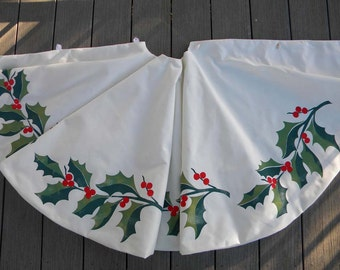 """LIMITED EDITION Holly Christmas tree skirt green red Christmas 52"""" berries traditional holiday celebrate Crabby Chris Original"""