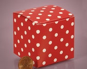 5 - 2x2x2 Red and White Polka Dots Favor Gift Box