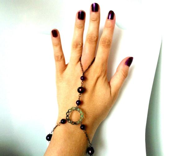 Steampunk Slave Bracelet, Verdigris Patina, Burgundy Pearl, Purple Aventurine, Green, Aged Copper