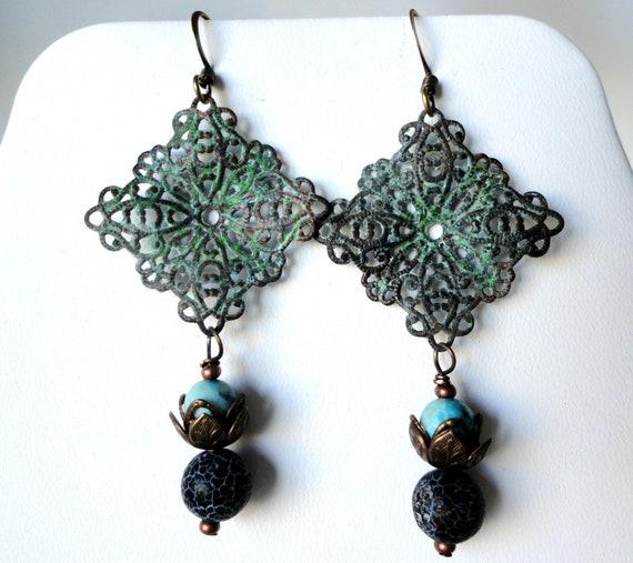 Verdigris Patina Ornate Filigree Squares, Crackle Black Agate, Turquoise, Copper Bead Caps, Daisies, Summer, Fall, Earrings