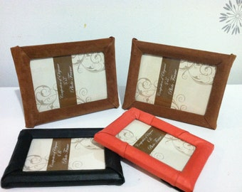 """Picture frame set photo 5""""x7"""" tan calfskin leather suede"""