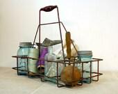 Vintage Metal Milk Bottle Carrier / Industrial Decor / Oil Can Carrier