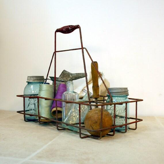 items similar to vintage metal milk bottle carrier. Black Bedroom Furniture Sets. Home Design Ideas