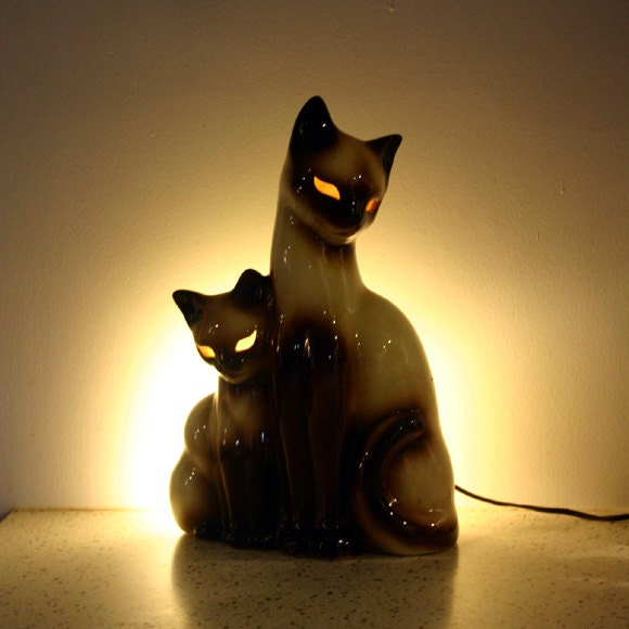Vintage Siamese Cat Lamp 1950s Tv Lamp