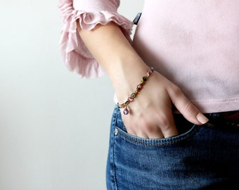 Faceted Tourmaline Bracelet with Rose Gold Findings