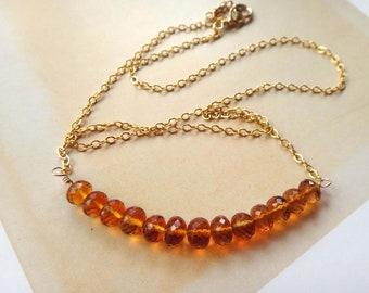 Gemstone gold necklaces citrine chain necklace citrine block necklace madeira citrine necklace brandy citrine November birthstone handmade