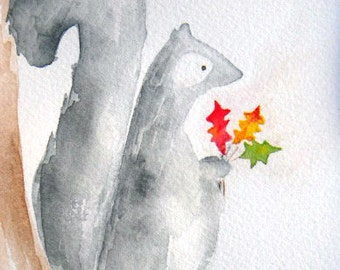 For You - little squirrel with leaves, autumn, fall, tree, animal, love, whimsical, original watercolor, grey, children's art