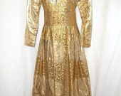 RESERVED Fabulous Vintage Gold Brocade Evening Gown, size medium 36 Bust
