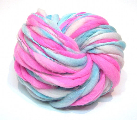 Super bulky handspun yarn in hand dyed thick and thin merino wool - 50 yards, 2.9 ounces/ 84 grams