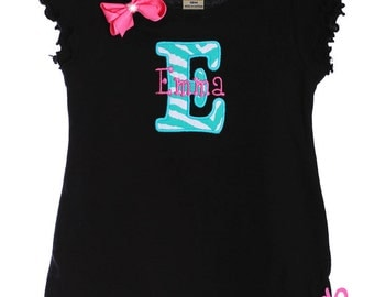Custom Boutique Personalized Initial Letter Name Applique Dress Tunic Top Design Your Own