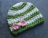 SALE - Striped Organic Crochet Baby Beanie Hat with Bow - Size 0-6 months - Ready to Ship