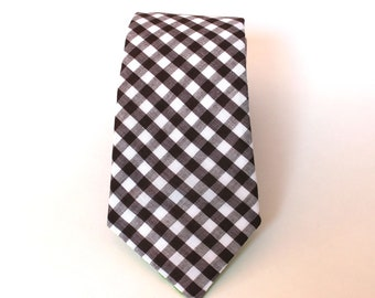 Men's Tie - Chocolate Brown Gingham