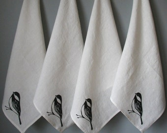 Linen Napkins - Organic Linen Cloth Napkins - Chickadee Screen Print- Set of Four Dinner Napkins- Hostess Gift