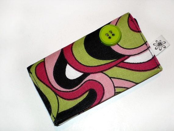 Business card case, credit card case, bright bold colors, pink, lime green two pockets secure magnetic snap